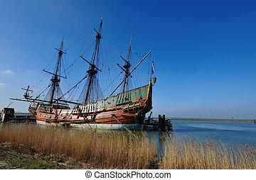 öreg, hajó, alatt, a, kikötő
