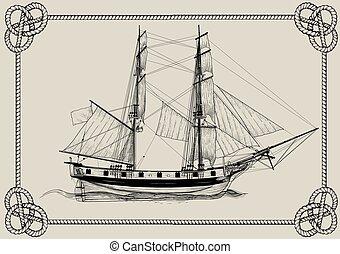 öreg, hajó, vitorlázás