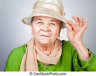 öreg, idősebb ember, hölgy, vidám, boldog