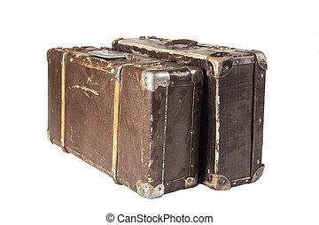öreg, két, bőrönd