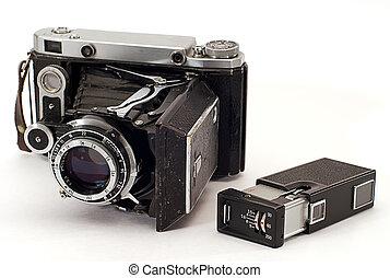 öreg, két, cameras, fénykép