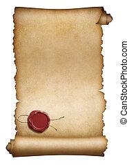 öreg, kézirat, fóka, elszigetelt, pergament, viasz, vagy, piros