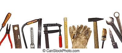 öreg, kézműves, eszközök, elszigetelt, képben látható, whi