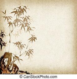 öreg, kínai, hagyományos, dolgozat, háttér, Bambusz, festmény