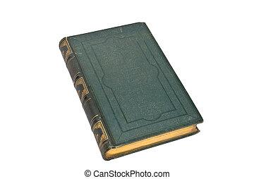 öreg, könyv, zöld, elszigetelt