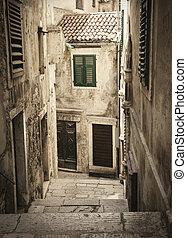 öreg, középkori, fasor