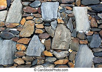 öreg, kőfal, struktúra