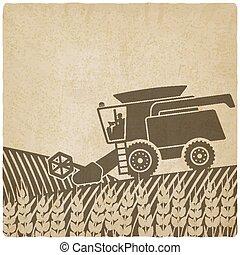 öreg, kartell, háttér, mező, aratógép