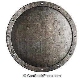 öreg, kerek, fém, középkori, pajzs