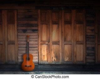 öreg, klasszikus, gitár, képben látható, erdő, fal