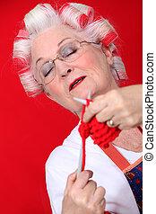 öreg, knitting., hölgy