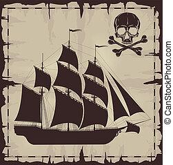 öreg, koponya, felett, nagy, dolgozat, hajó