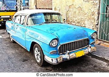 öreg, kubai, autó
