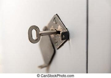 öreg, kulcslyuk, kulcs