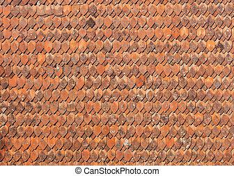 öreg mód, ceramic cserép, képben látható, a, tető