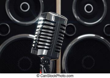 öreg mód, mikrofon, -ban, beszélók, háttér