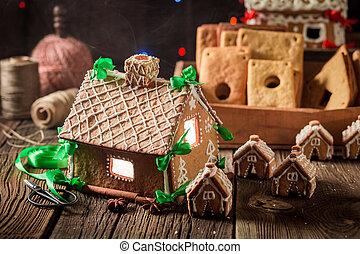 öreg, műhely, ízletes, nagyszerű, villaház, gyömbéres mézeskalács, karácsony