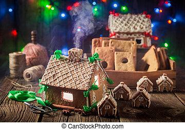 öreg, műhely, házi készítésű, villaház, gyömbéres mézeskalács, karácsony