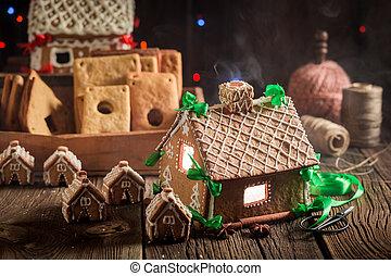 öreg, műhely, nagyszerű, villaház, gyömbéres mézeskalács, karácsony