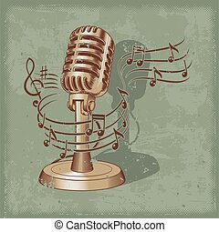 öreg, mikrofon, elkészített, alatt, grunge, mód