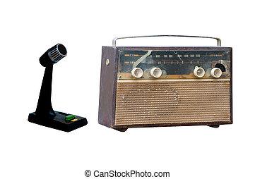 öreg, mikrofon, rádió