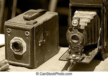öreg, nagyon, fénykép, tintahal, két, fényképezőgép