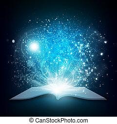 öreg, nyitott könyv, noha, varázslatos, fény, és, esik...