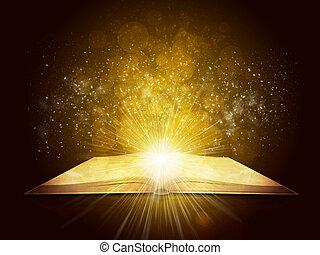 öreg, nyitott könyv, noha, varázslatos, fény, és, esik csillag
