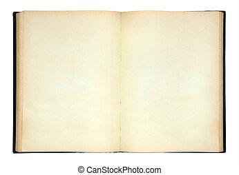 öreg, nyitott könyv