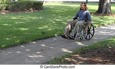 öreg, paraplegic, tolószék