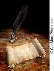öreg, pergament, és, egy, madártoll