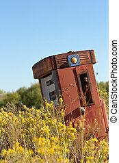 öreg, pumpa, gáz, elhagyatott