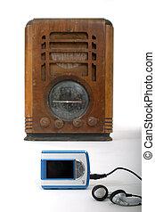 öreg, rádió, új, mp3 játékos, 1