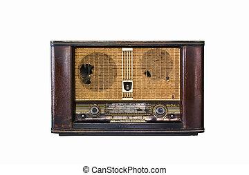 öreg, rádió, elszigetelt