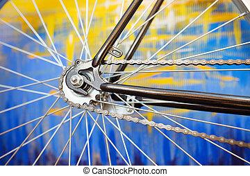 öreg, részletez, refurbished, retro, bicikli, kilátás