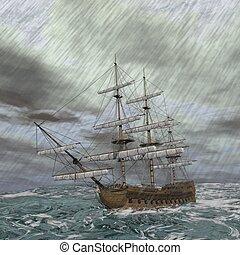 öreg, render, -, megrohamoz, hajó, 3