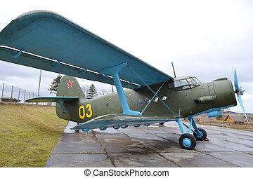 öreg, repülőgép, képben látható, a, múzeum