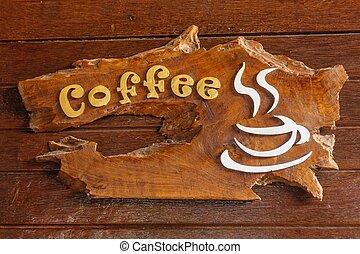 öreg, retro, aláír, noha, a, szöveg, kávécserje, shop.