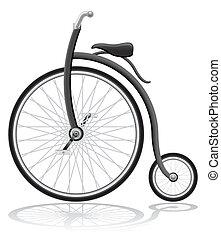 öreg, retro, bicikli, vektor, ábra