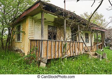 öreg, romos, épület
