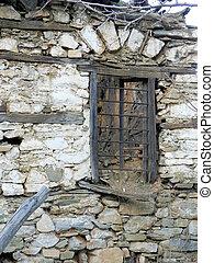 öreg, romos, ablak