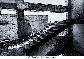 öreg, romos, gyár, épület, alapján, a, belső