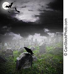 öreg, romos, temető, alatt, rejtély, köd