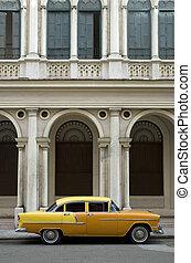 öreg, sárga, amerikai, autó