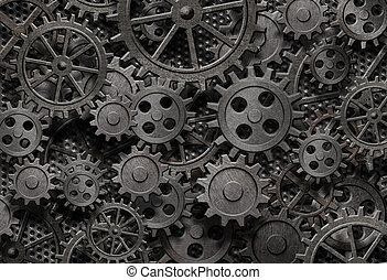 öreg, sok, fém, gép, berozsdásodott, alkatrészek, fogaskerék-áttétel, vagy