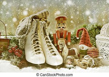 öreg, szüret apró, ablak, korcsolya, párkány, karácsony