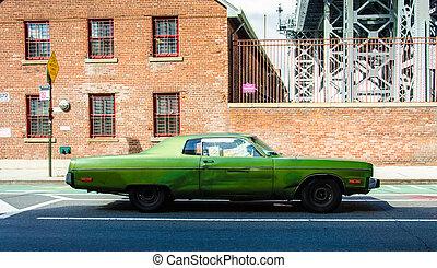 öreg, szüret autó, képben látható, egy, utca, alatt,...