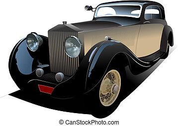 öreg, szüret, autó., színezett, vektor, ábra, helyett, rajzoló