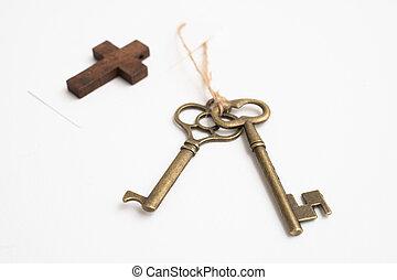 öreg, szüret, címke, háttér, kulcs, kereszt, fehér, rézfúvósok