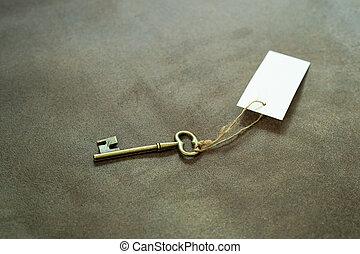 öreg, szüret, címke, kulcs, fehér, rézfúvósok